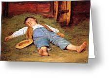 Sleeping Boy In The Hay Greeting Card