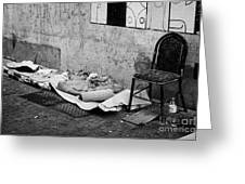 sleeping rough on the streets of Santiago Chile Greeting Card