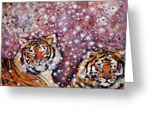Sleeping Tigers Dream Such Sweet Dreams Kitties In Heaven Greeting Card