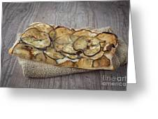 Sliced Pizza With Eggplants Greeting Card