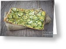 Sliced Pizza With Zucchini Greeting Card