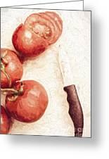 Sliced Tomatoes. Vintage Cooking Artwork Greeting Card