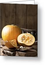 Slicing Pumpkins Greeting Card