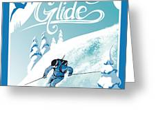 Slide And Glide Retro Ski Poster Greeting Card