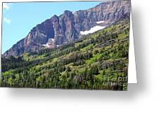 Sloping Mountain At Two Medicine Lake Greeting Card by Carol Groenen