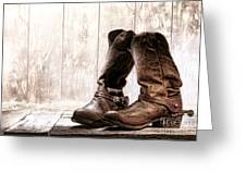 Slouch Cowboy Boots Greeting Card