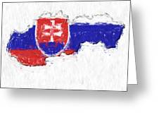 Slovakia Painted Flag Map Greeting Card