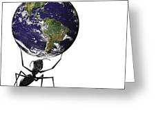 Small Ant Lifting Heavy Blue Earth Greeting Card