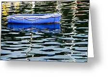 Small Blue Boat Greeting Card