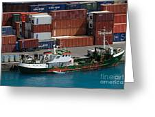 Small Boat With Cargo Containers Greeting Card