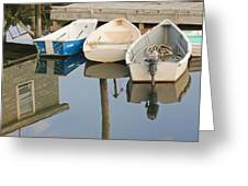 Small Boats And Dock In Port Clyde Maine Greeting Card