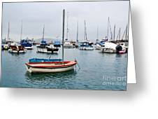 Small Boats At Lyme Regis Harbour Greeting Card