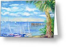 Small Boats On Water Greeting Card
