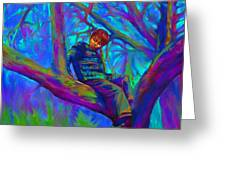 Small Boy In Large Tree Greeting Card