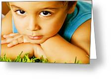 Small Boy On Green Grass Greeting Card