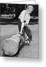 Small Boy Totes Heavy Golf Bag Greeting Card