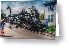 Small Boy Waiting For Steam Engine Greeting Card