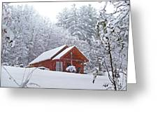 Small Cabin In The Snow Greeting Card