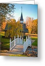 Small Chapel Across The Bridge In Fall Greeting Card
