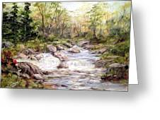 Small Falls In The Forest Greeting Card