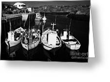 small fishing boats in bunbeg harbour county Donegal Republic of Ireland Greeting Card