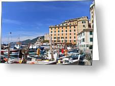 small harbor in Camogli. Italy Greeting Card