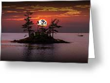 Small Island At Sunset Greeting Card