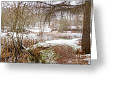 Small Lake In The Snow Greeting Card