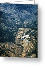 Small Plane Flying Over Mountains Greeting Card
