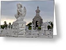 Small Praying Angel And Chapel Greeting Card