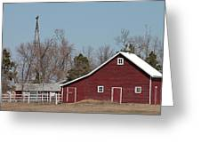 Small Red Barn With Windmill Greeting Card