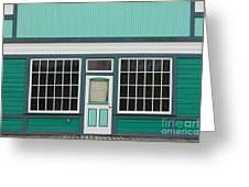 Small Store Front Entrance To Green Wooden House Greeting Card