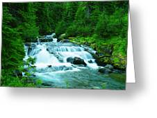 Small Waterfall On The Paradise River Greeting Card