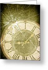 Smashed Clock Face Greeting Card