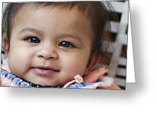 Smiley Asian Baby Greeting Card by Vicasso Destiny