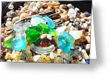 Smiley Face Beach Seaglass Blue Green Art Prints Greeting Card