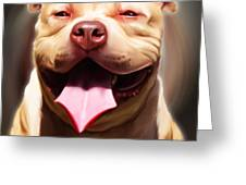 Smiling Pit Bull By Spano Greeting Card