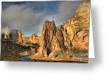 Smith Rock Foggy Morning Greeting Card