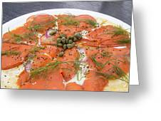 Smoked Salmon Pizza Closeup Greeting Card