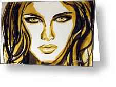 Smokey Eyes Woman Portrait Greeting Card by Patricia Awapara