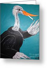 Smoking Egret In Leather Jacket Greeting Card