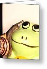 Snail Looking At Frog Greeting Card