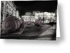 Snails Attack Milan Bw Greeting Card