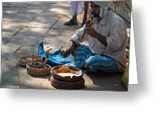 Snake Charmer Hampi Bazaar Greeting Card