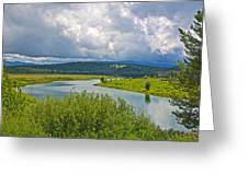 Snake River By Oxbow Bend In Grand Teton National Park-wyoming Greeting Card