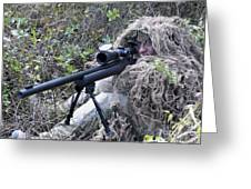 Sniper Dressed In A Ghillie Suit Greeting Card