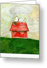 Snoopy Asleep On Red Doghouse Greeting Card