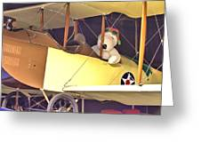 Snoopy In His Biplane Greeting Card