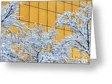 Snow And Golden Glass Greeting Card