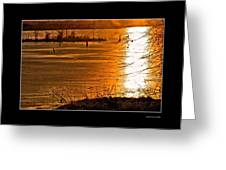 Snow And Ice Sunset Greeting Card